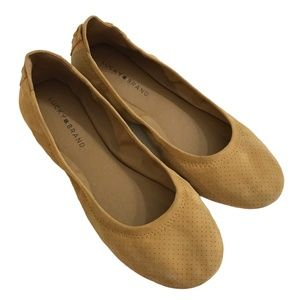 LUCKY BRAND Echo Lace-Up Back Suede Ballet Flats